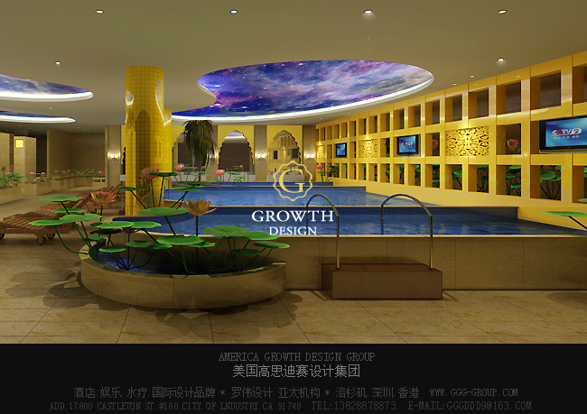 天津泰达中心国际洗浴设计游泳区石材的应用